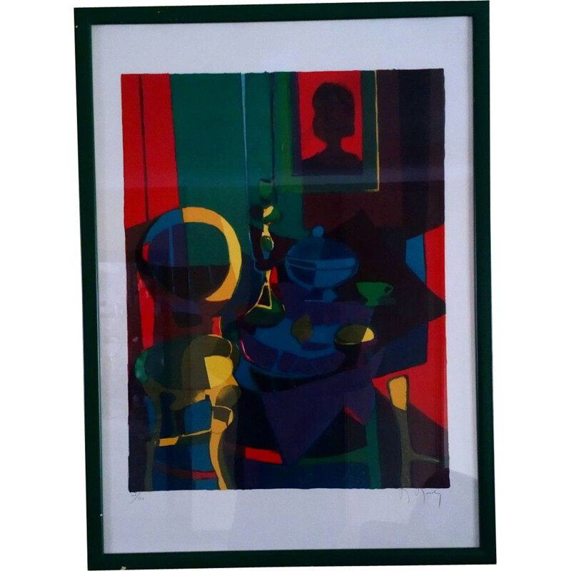 Vintage lithography number 106/150 by Marcel Mouly 1980