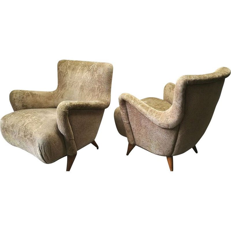 Pair of vintage armchairs by Charles Ramos 1950s