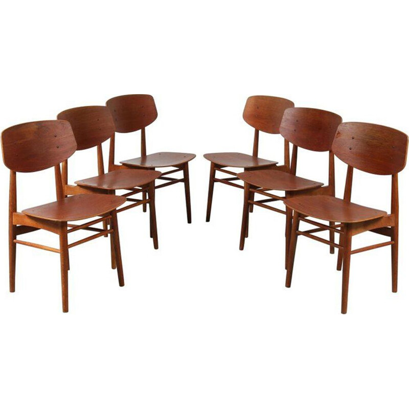 Set of 6 vintage dining chairs by Borge Mogensen for Soborg Mobelfabrik 1950