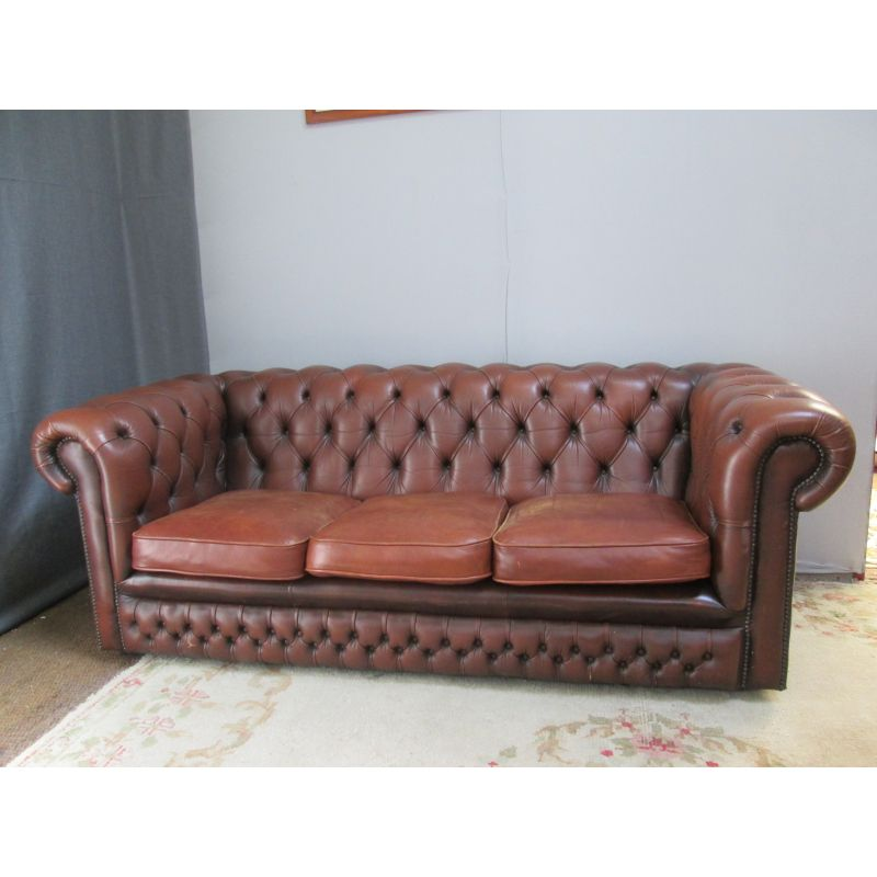 Vintage Chesterfield Sofa In Brown Leather 1990 Design Market