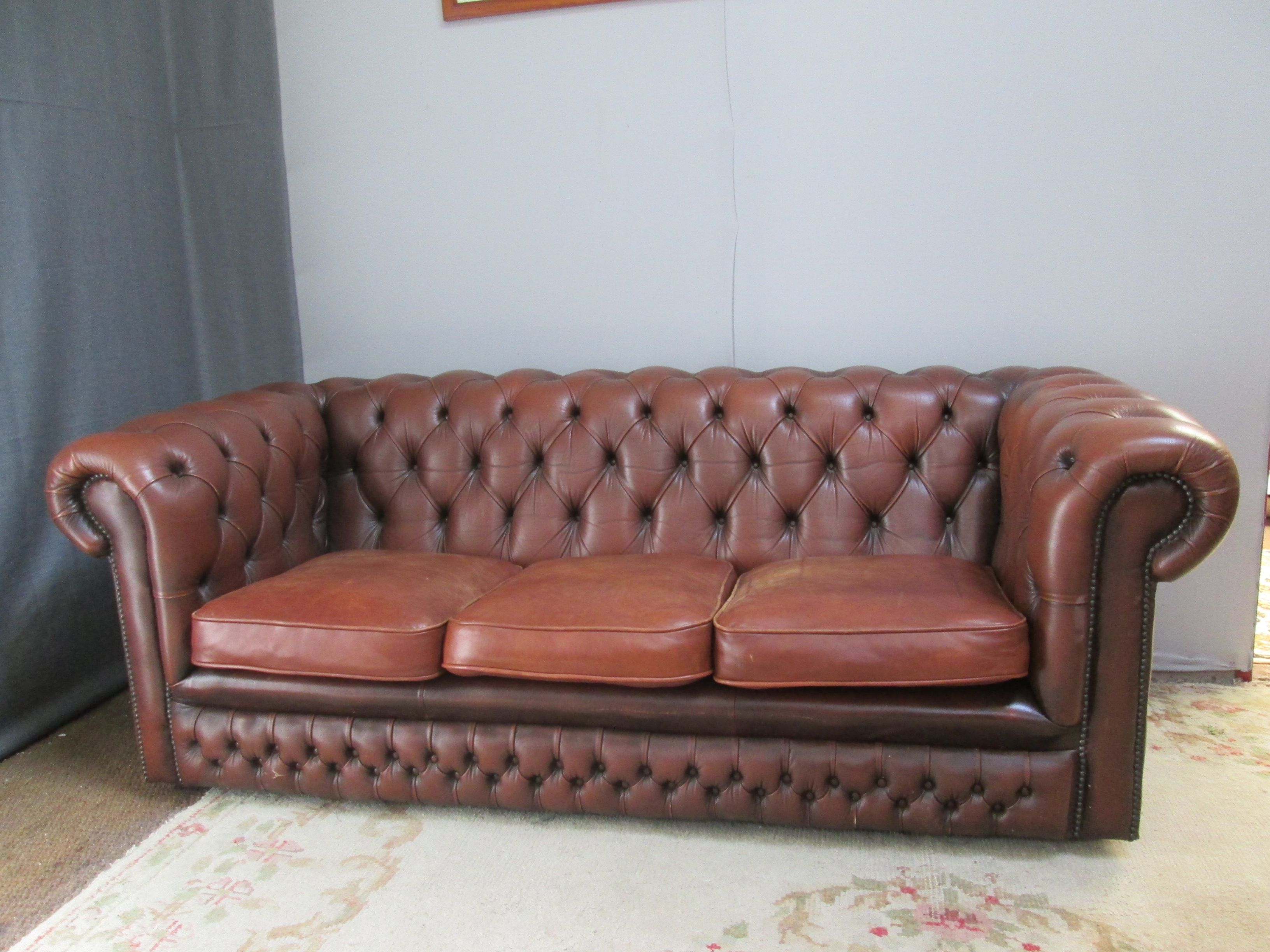 Vintage Chesterfield Sofa In Brown Leather 1990