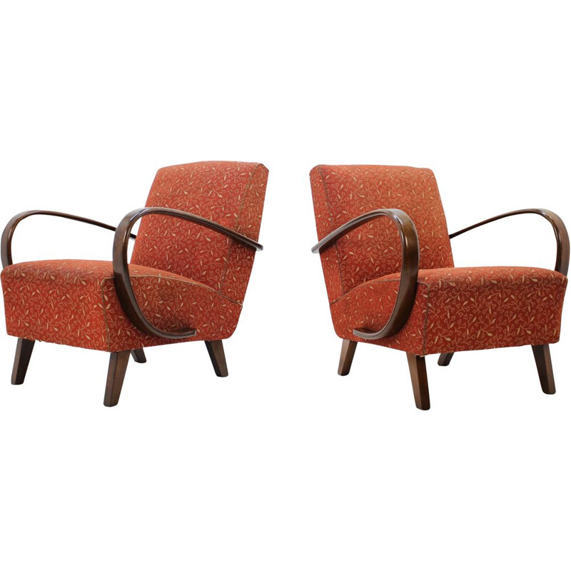 Set of 2 vintage retro armchairs by Jindřich Halabala