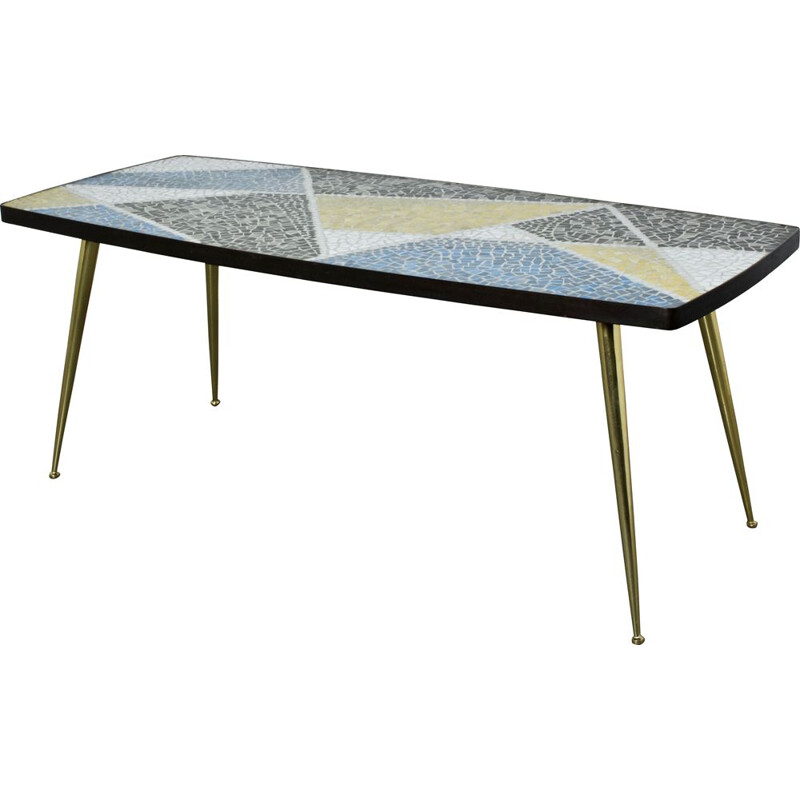 Vintage german coffee table by Berthold Muller in mosaic and brass