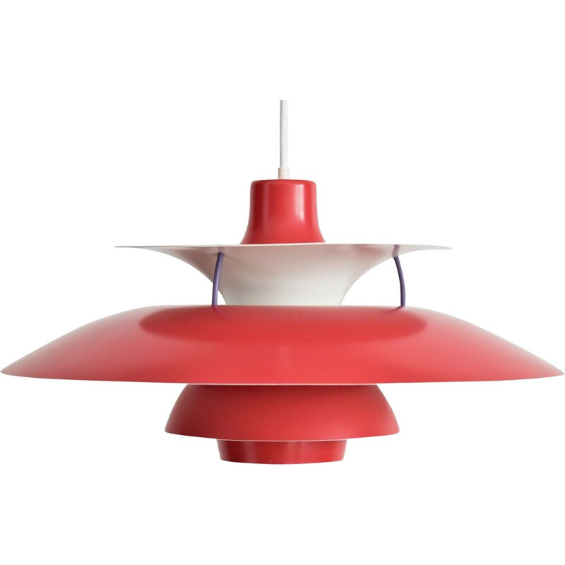 Vintage hanging lamp red PH5 by Poul Henningsen for Louis Poulsen Denmark