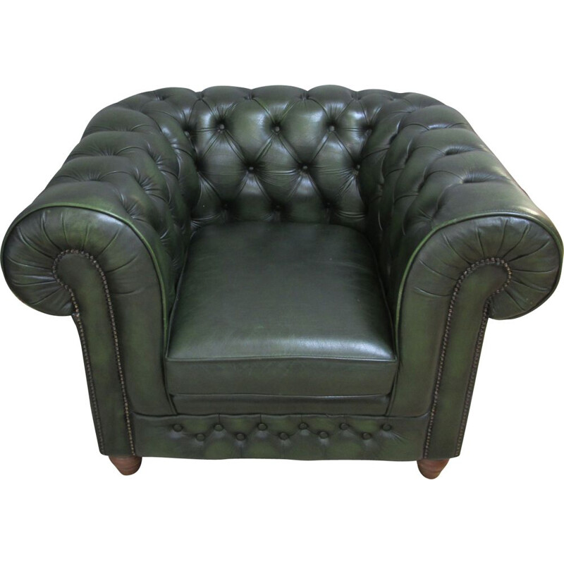 Vintage green leather chesterfield armchair 1990
