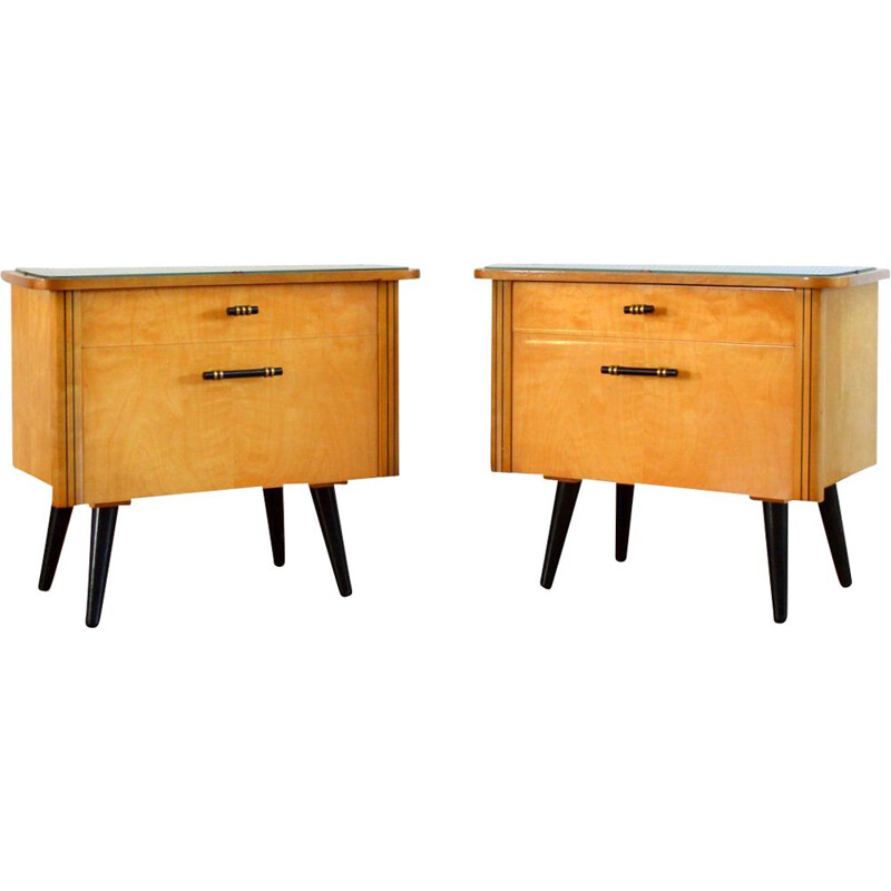 Pair of vintage wooden night stands 1950s