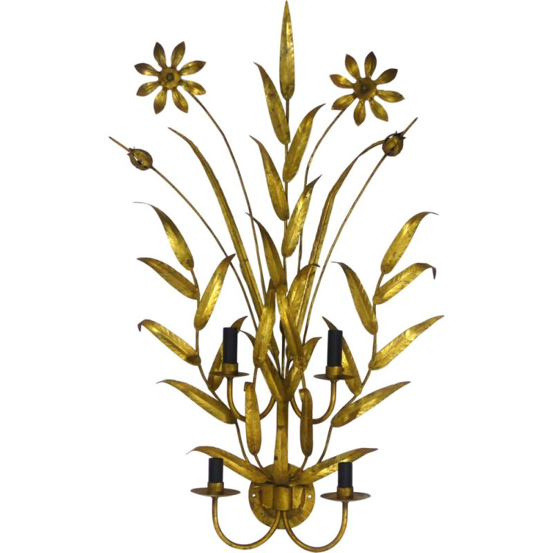 Vintage golden wall lamp with foliage and flowers 1960s