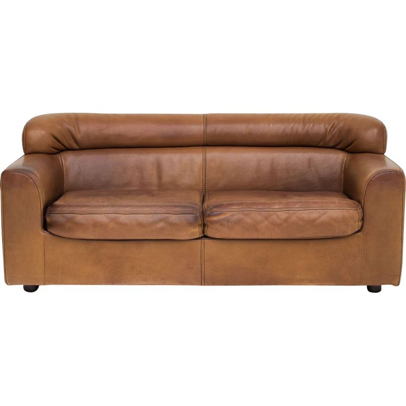 Vintage 2-seater sofa in leather by Durlet,1970