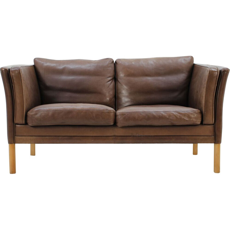 Vintage Danish 2-seater sofa in leather from the 60s