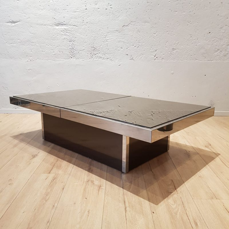Table Basse Willy Rizzo.Vintage Bar Coffee Table By Willy Rizzo In Smoked Glass 1960s