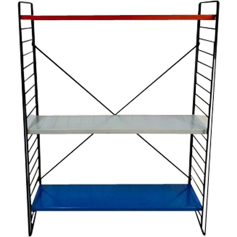 Vintage Shelving Unit Metal by A. D. Dekker for Tomado in red blue and grey metal 1960s