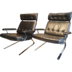 Large lounge armchair in leather and steel, Olivier MOURGUE - 1970s