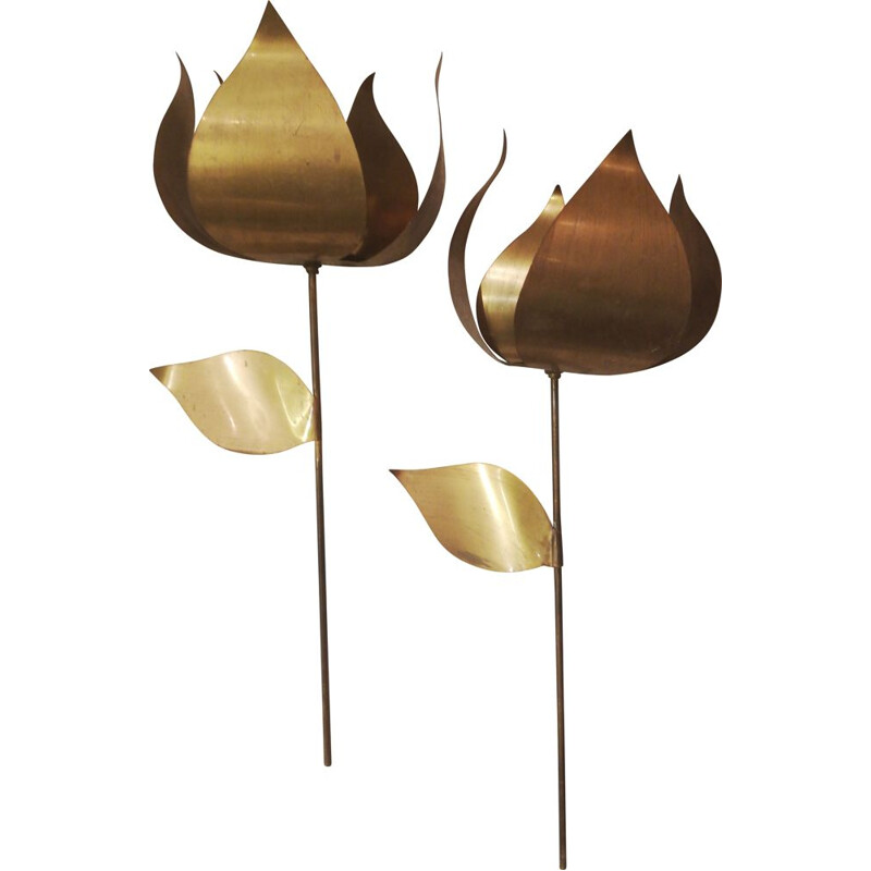 Pair of flower wall lamps in brass