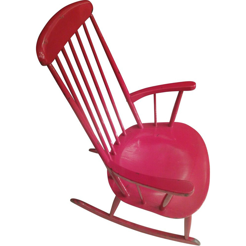 Vintage red rocking chair by Ilmari Tapiovaara