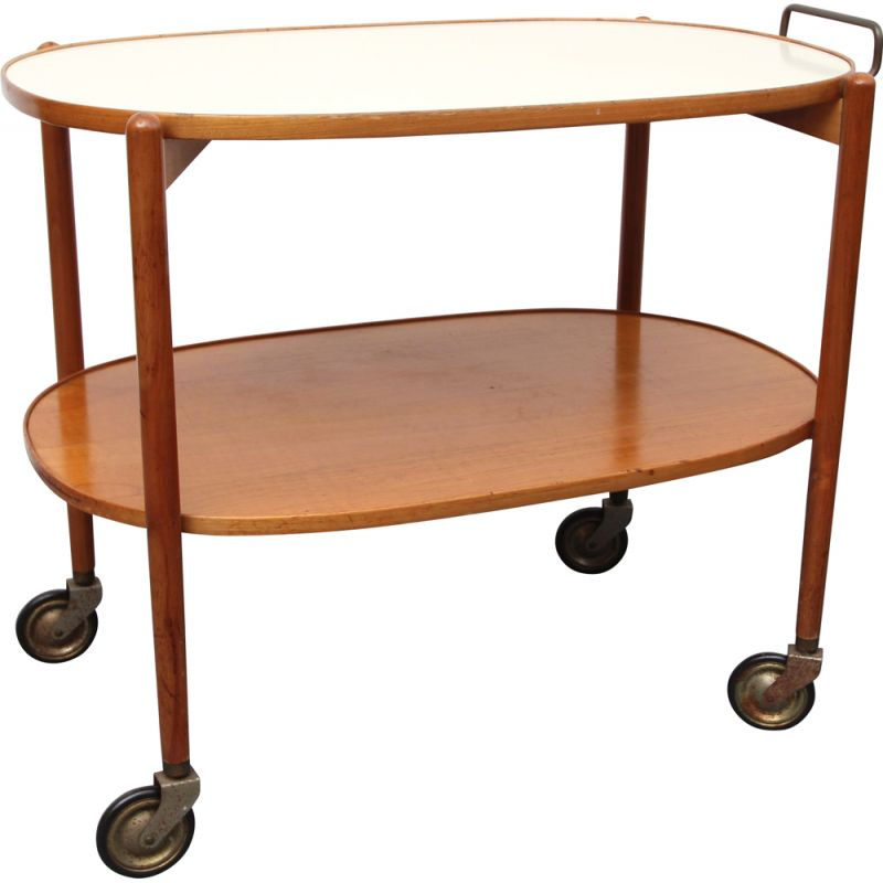 Vintage trolley in cherrywood and formica