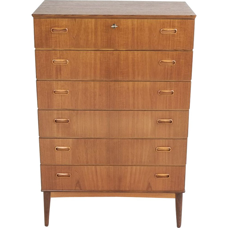 Vintage chest of 6 drawers in teak by Omann Jun 1960s