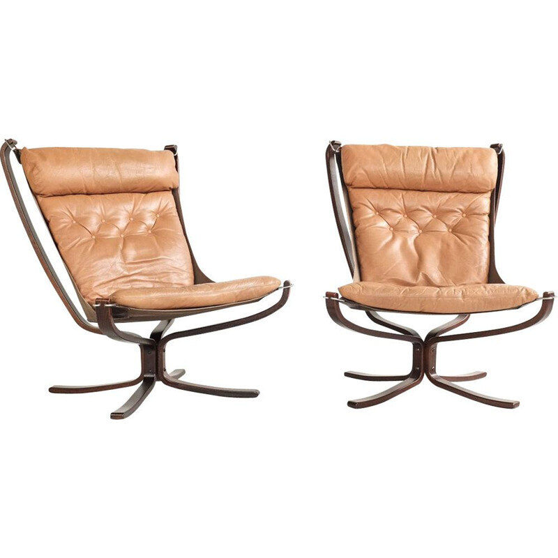 Set of 2 vintage high back Falcon armchairs by Sigurd Resell 1970s