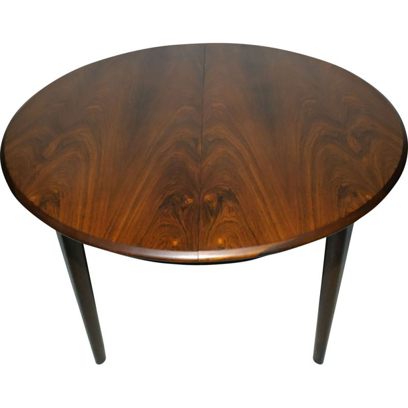 Vintage Dining Table Round In Rosewood Extendable Scandinavian 60s Design Market