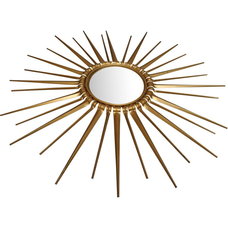 Vintage sun mirror golden metal bulging