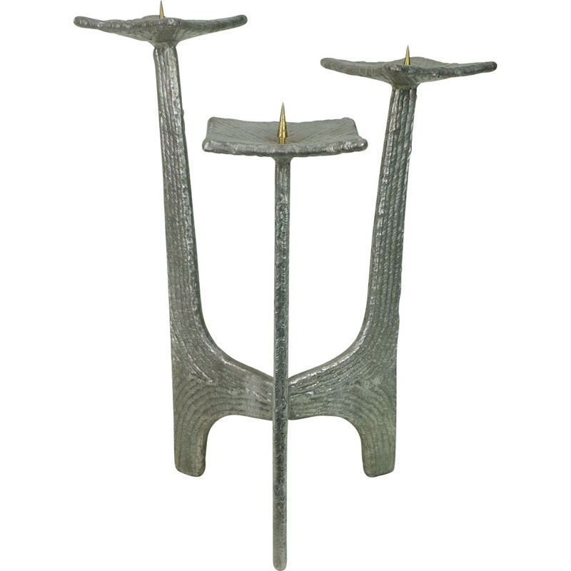 Vintage candlestick three-legged in iron Germany 1960s