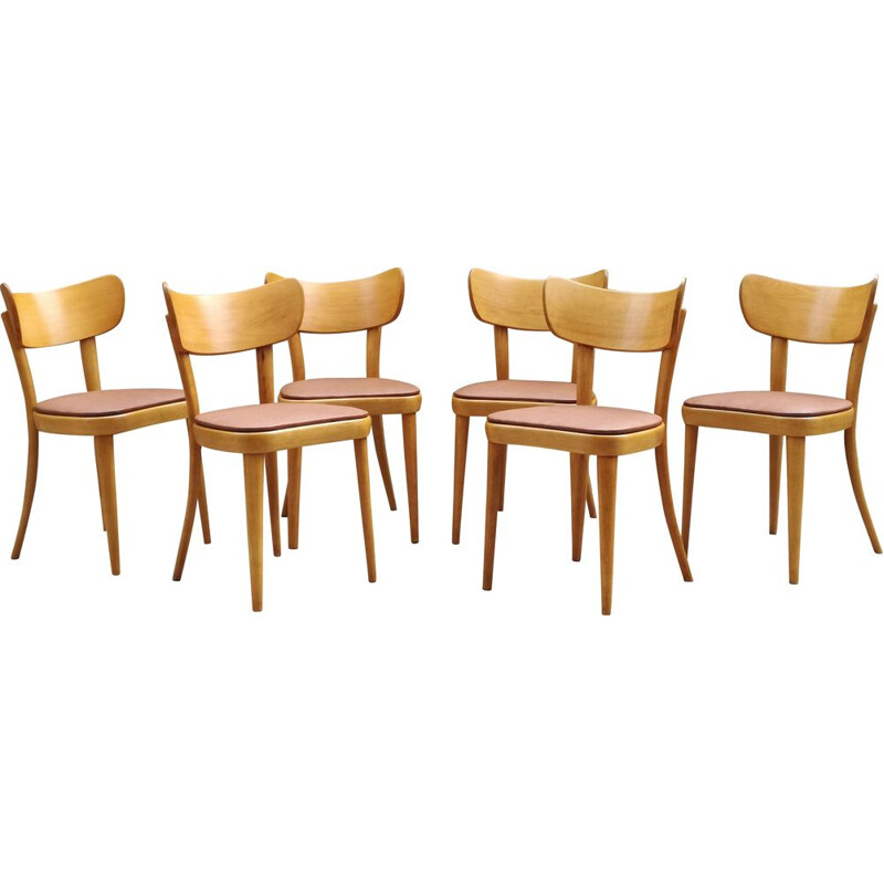 Set of 6 bistro chairs in beechwood by Thonet