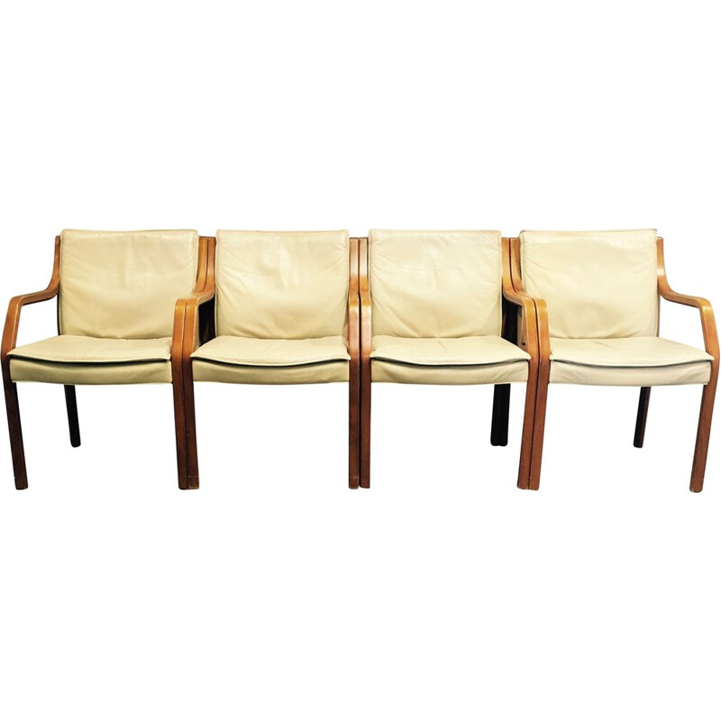 Set of 4 Antimott leather armchairs by Walter Knoll