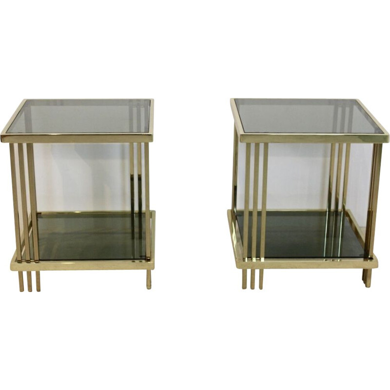 Pair of vintage side tables Graphical Brass and Glass France 1970s