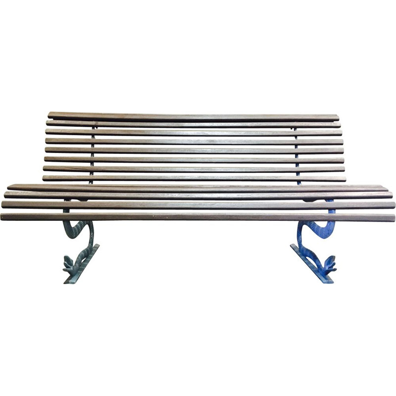 Vintage outdoor bench in wood and metal