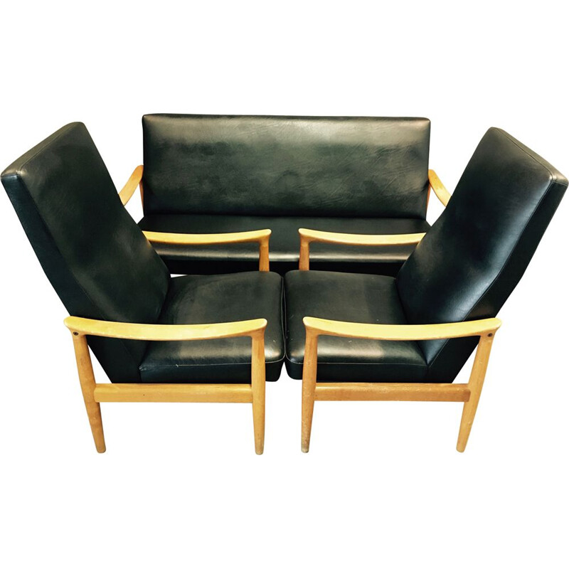 Vintage living room set sofa and 2 armchairs Fritz Hansen Scandinavian 1950