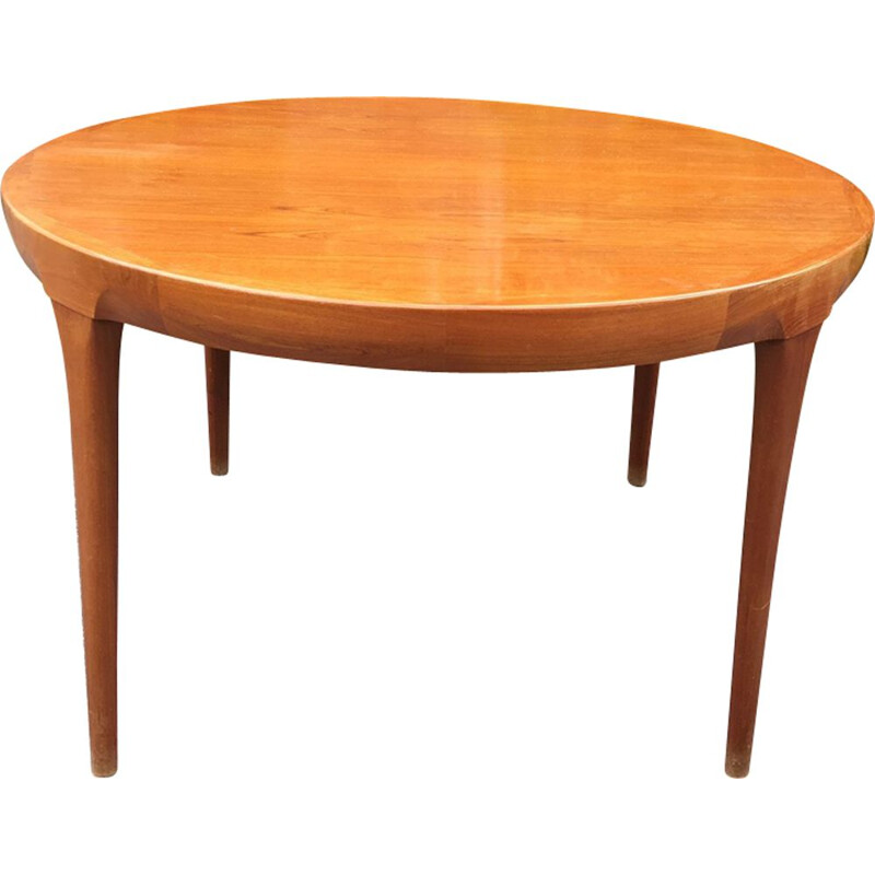 Vintage table round teak and rosewood Kofod Larsen Scandinavian 1970s