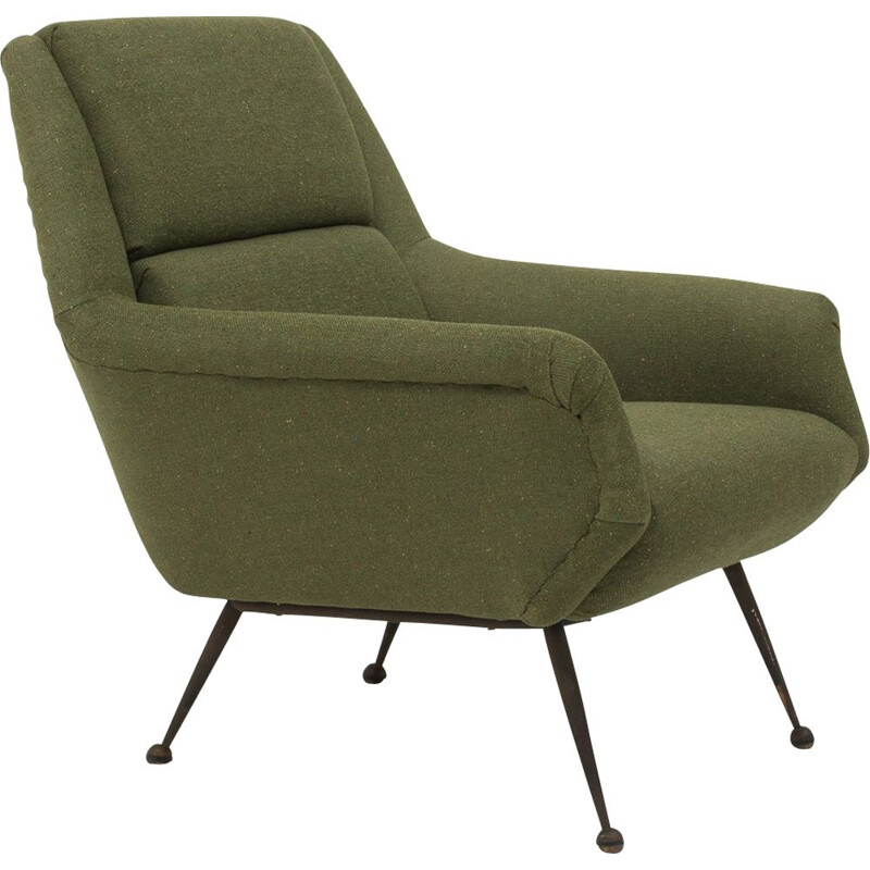 Vintage armchair in green wool by Gio Ponti for Minotti 1960s