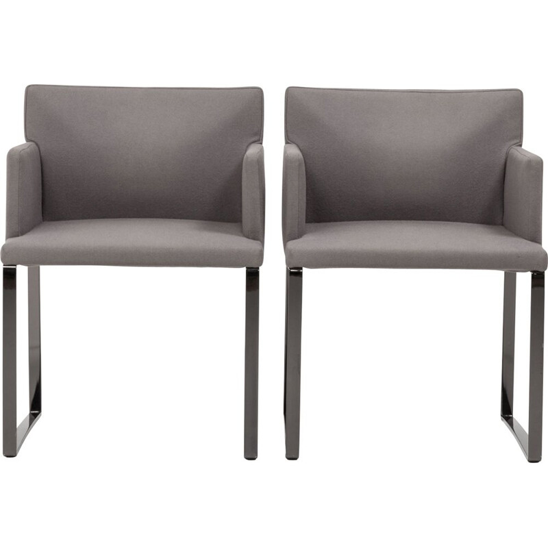 Set of 2 vintage Flynt grey wool armchairs by Rodolfo Dordoni for Minotti