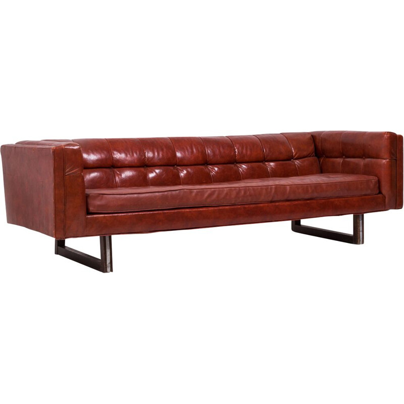 Vintage Tuxedo red leather sofa by Milo Baughman 1950s