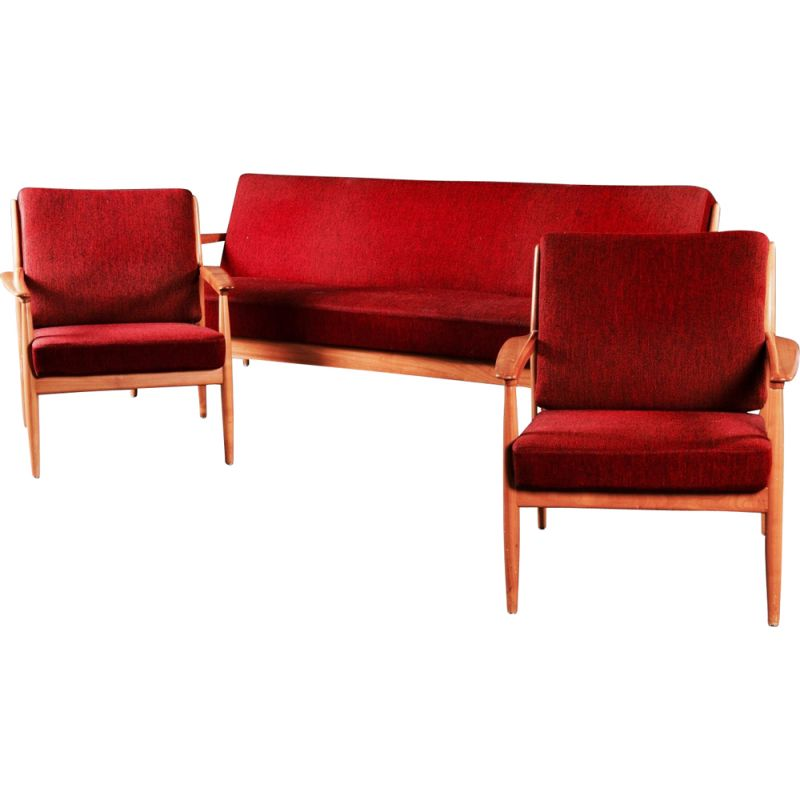 Set of a vintage convertible sofa and 2 armchairs Casala 1950s
