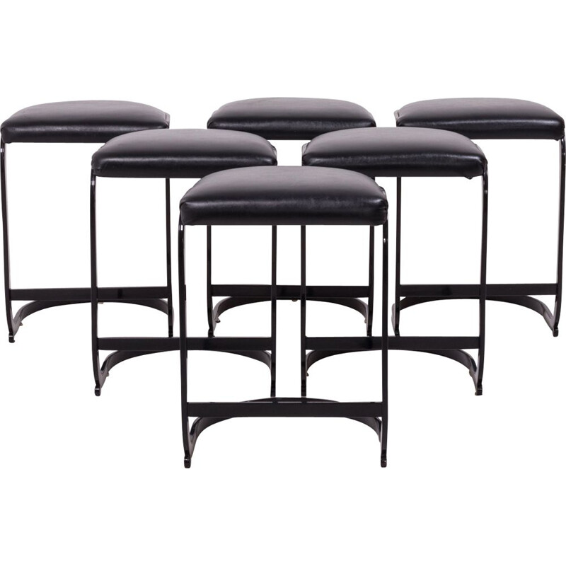 Set of 6 vintage black metal and leather stools