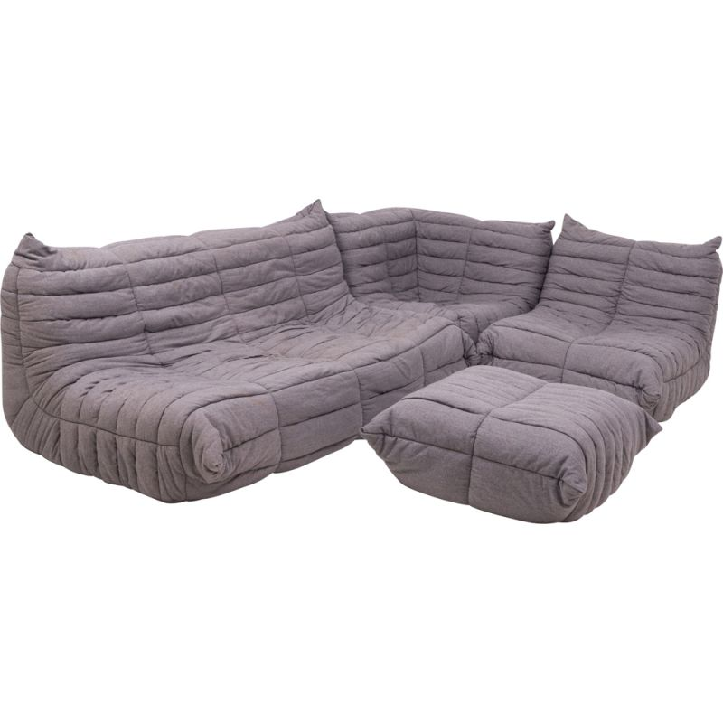 Set of 4 pieces vintage grey fabric modular sofa and footstool by Michel Ducaroy for Ligne Roset