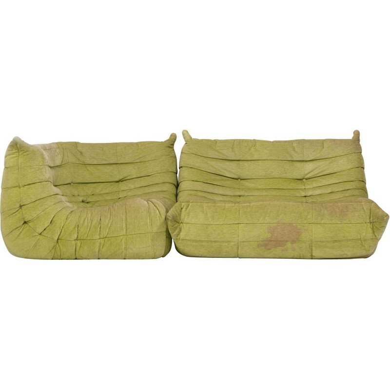 Set of 2 ogo lime green fabric modular sofa by Michel Ducaroy for Ligne Roset