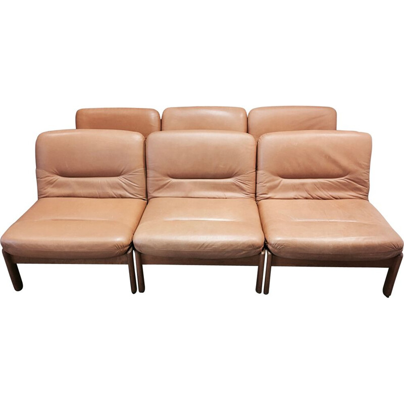 Set of 6 armchairs modular in teak and leather 1960