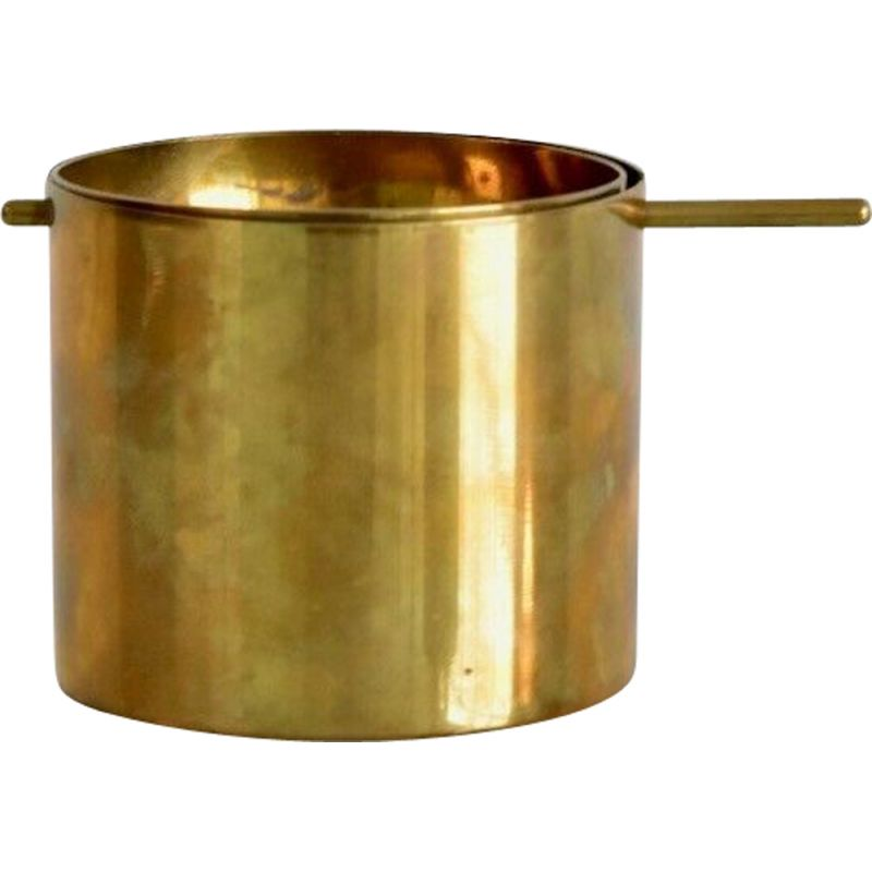 Small vintage brass ashtray by Arne Jacobsen for Stelton, Denmark, 1950