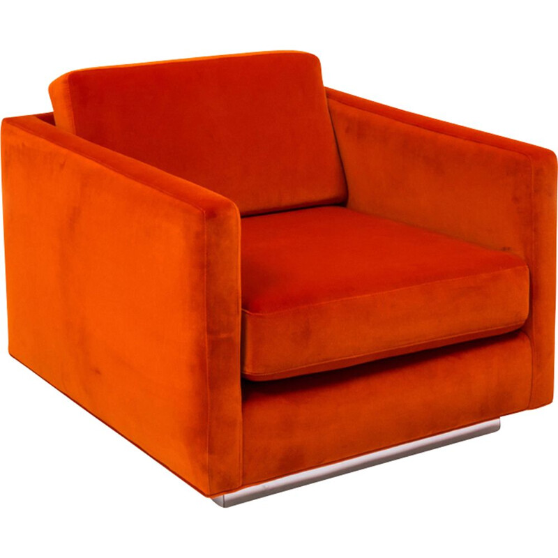 2 vintage orange velvet armchairs by Milo Baughman, 1960