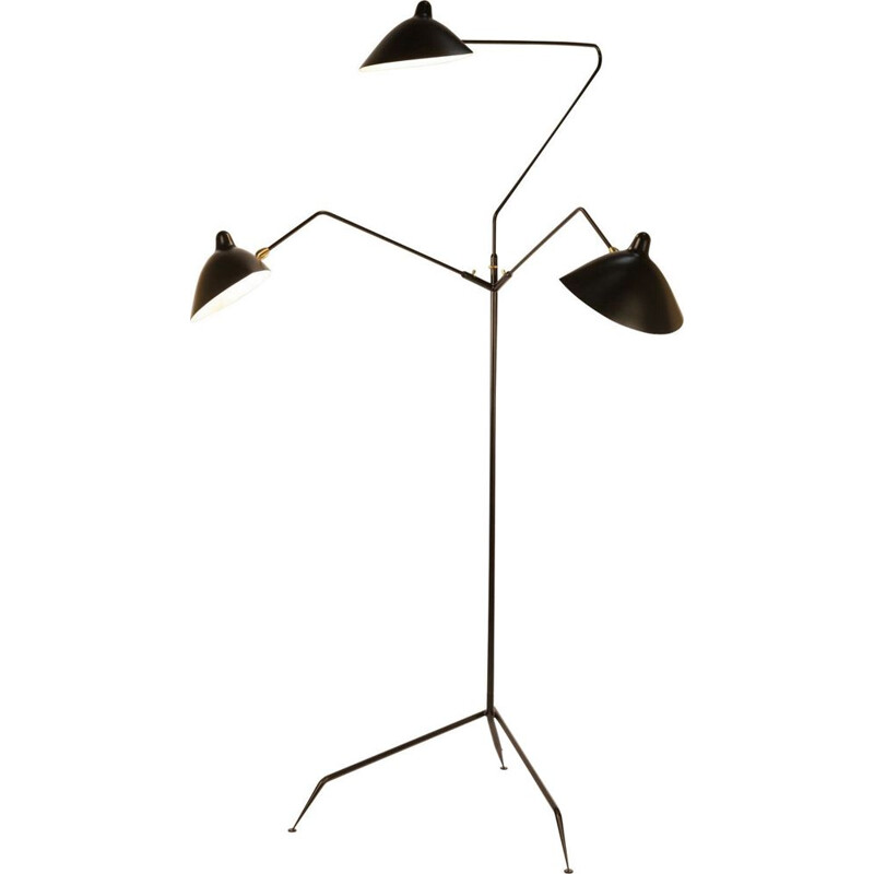 Floor lamp with 3 swiveling arms by SERGE MOUILLE