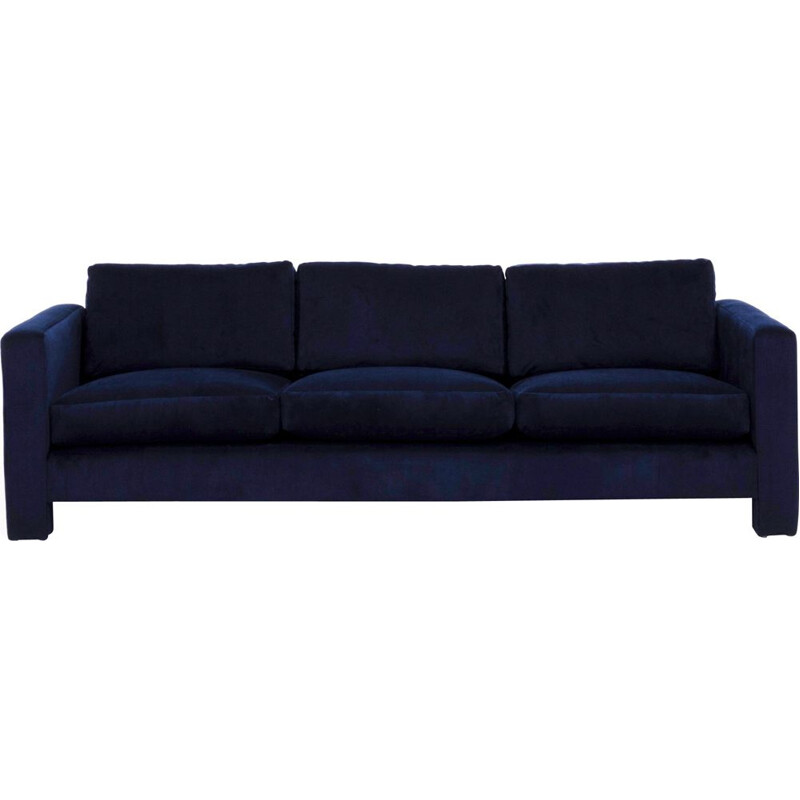 Vintage 3-seater sofa in navy velvet by Milo Baughman,1960