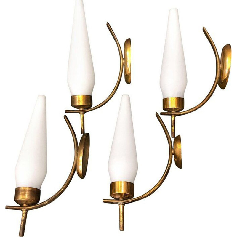 Vintage set of 4 wall lights in brass and Italian glass, 1950