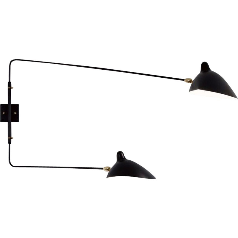 Wall lamp with 2 swiveling arms by SERGE MOUILLE