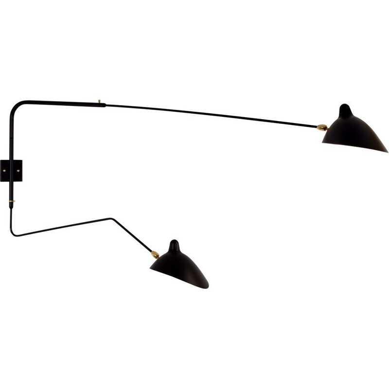 Wall lamp with 2 swiveling arms with 1 curved by SERGE MOUILLE