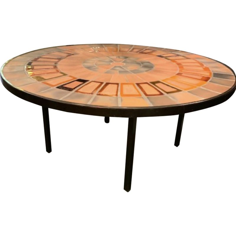 Vintage coffee table in ceramic by Roger Capron,France,1960