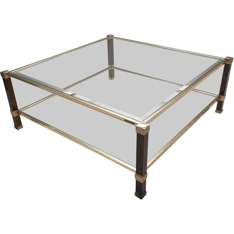 Vintage square coffee table for Vandel in glass and aluminium 1980