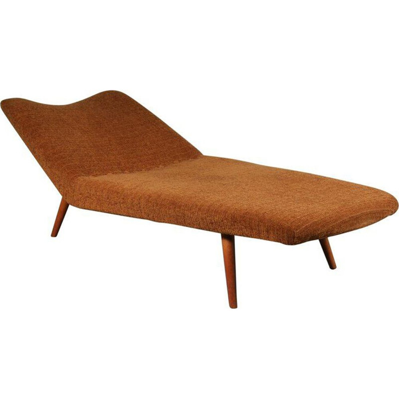 Vintage daybed for Artifort in brown fabric and wood 1950