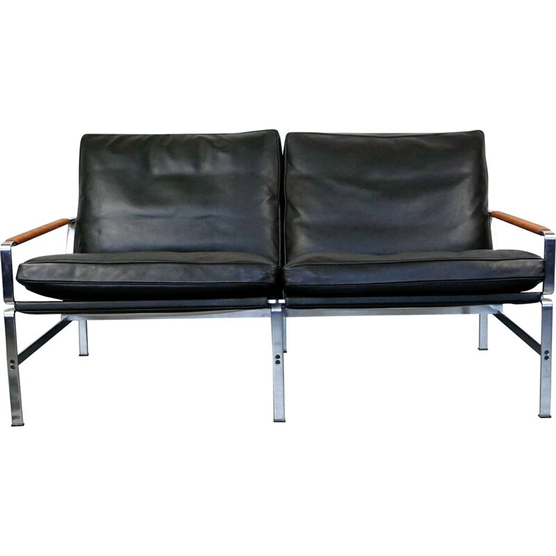 Vintage sofa for Lange in black leather and steel 1960