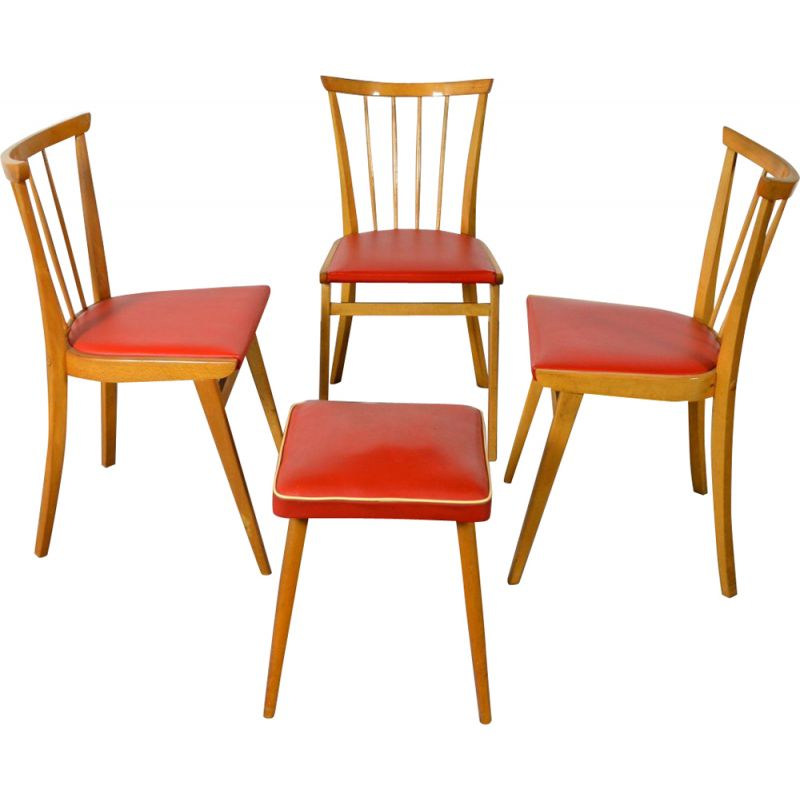 Set of 3 vintage chairs and 1 stool in wood and red vinyl 1960
